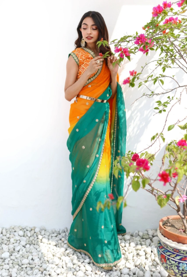 VINTAGE GREEN AND YELLOW SHADED ORGANZA SAREE