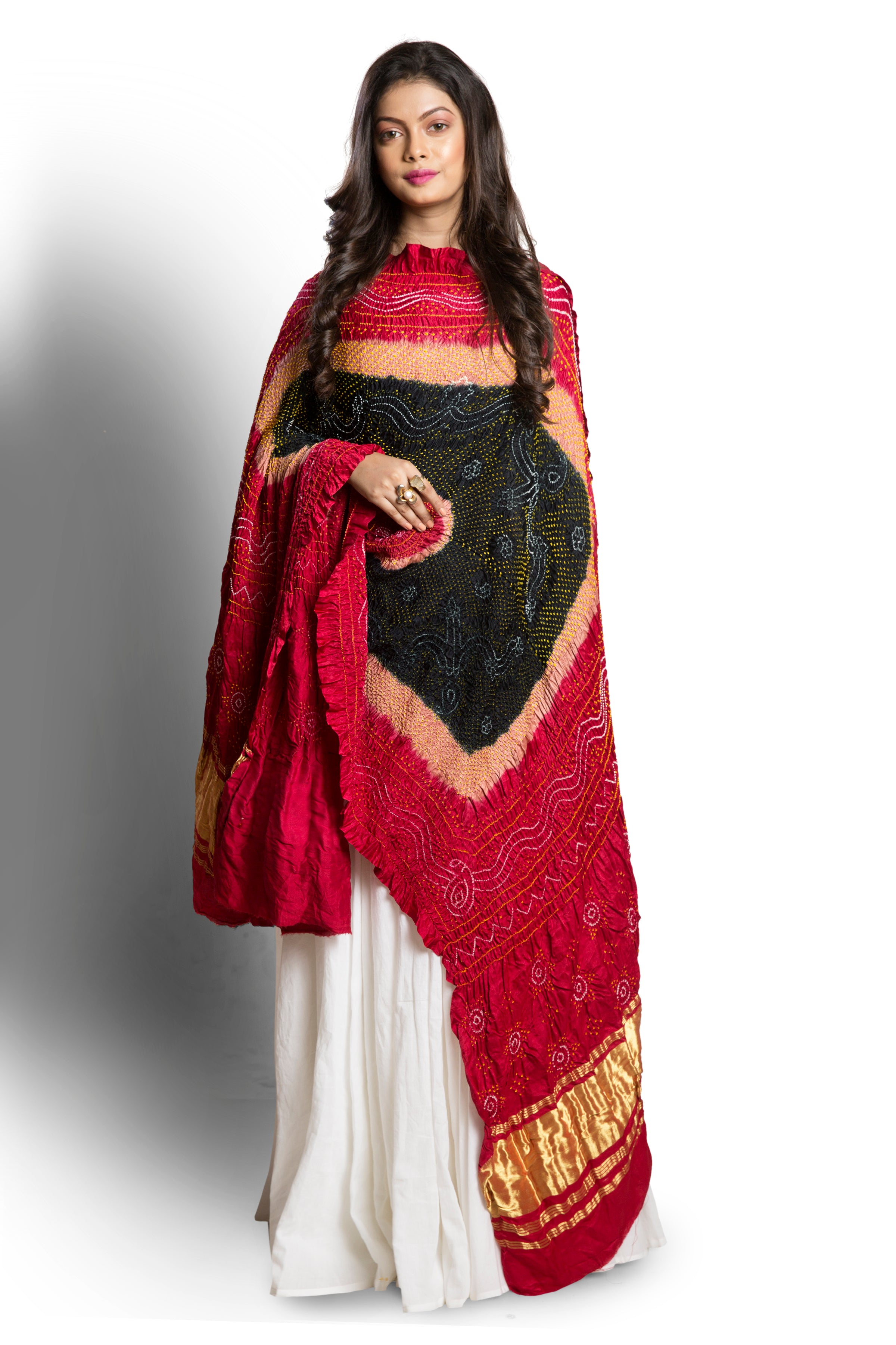 red black shaded dupatta bandhani