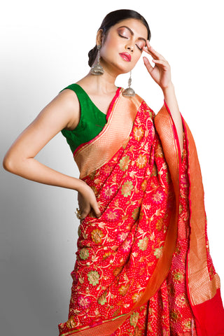 Red banarasi bandhani saree with meenakari