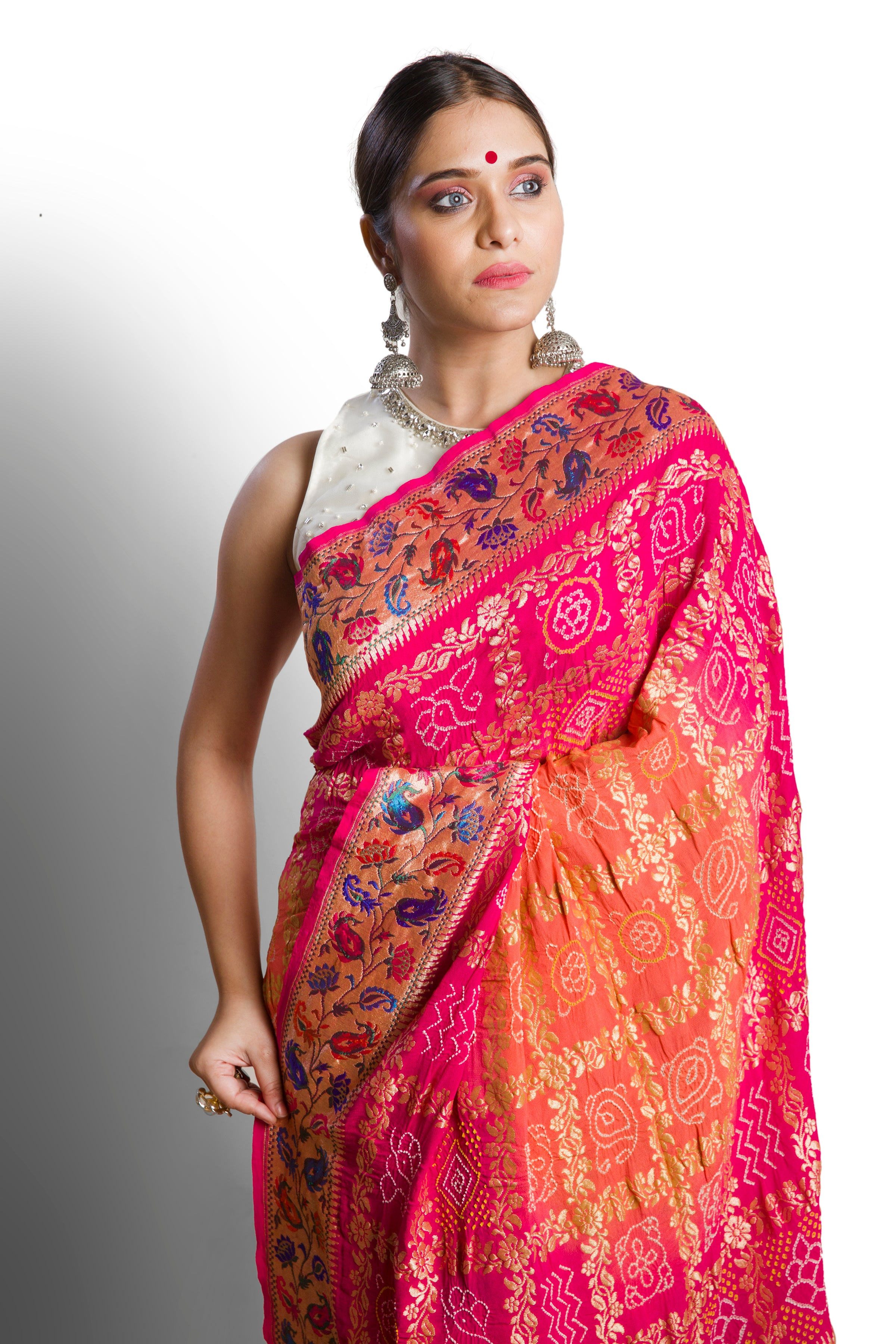 pink peach saree