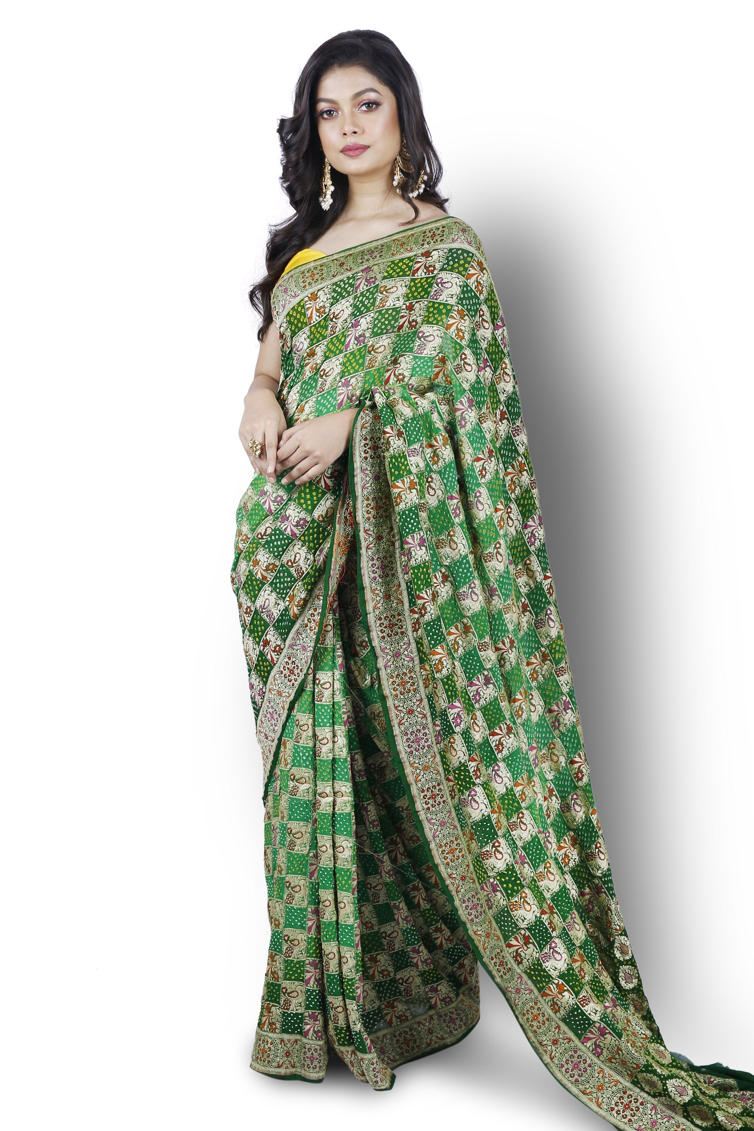 Green Bandhani Saree with Meenakari detailing