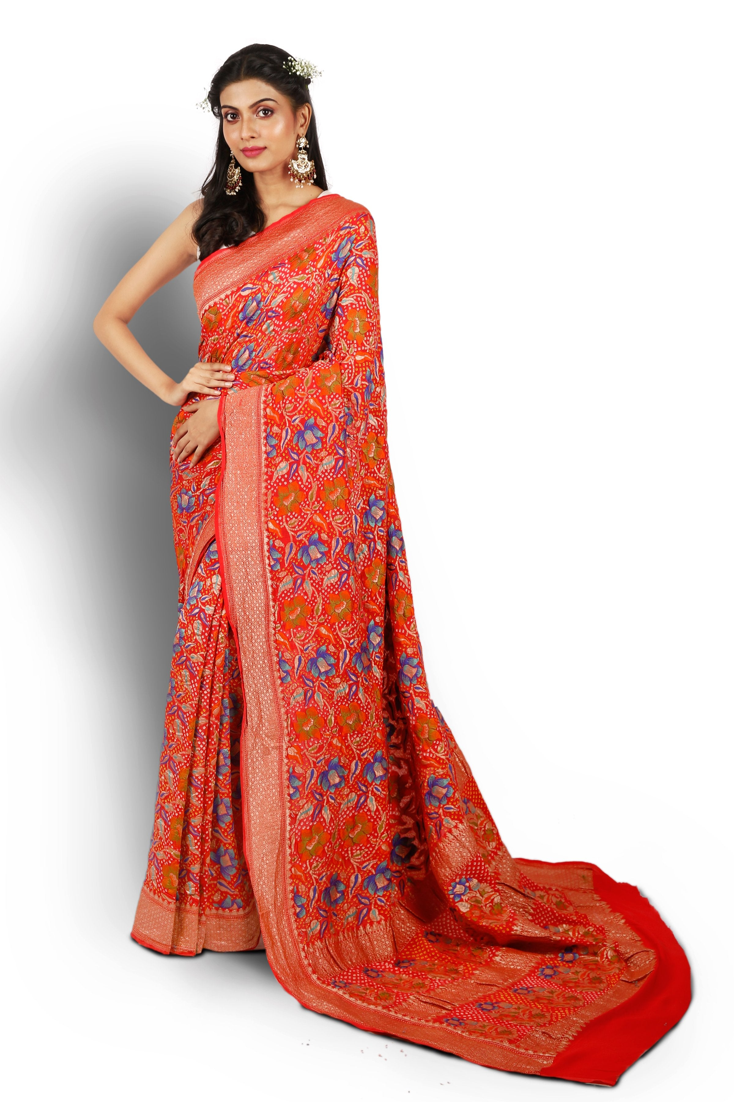 Red Benarasi Bandhani Saree with Meenakari detailing