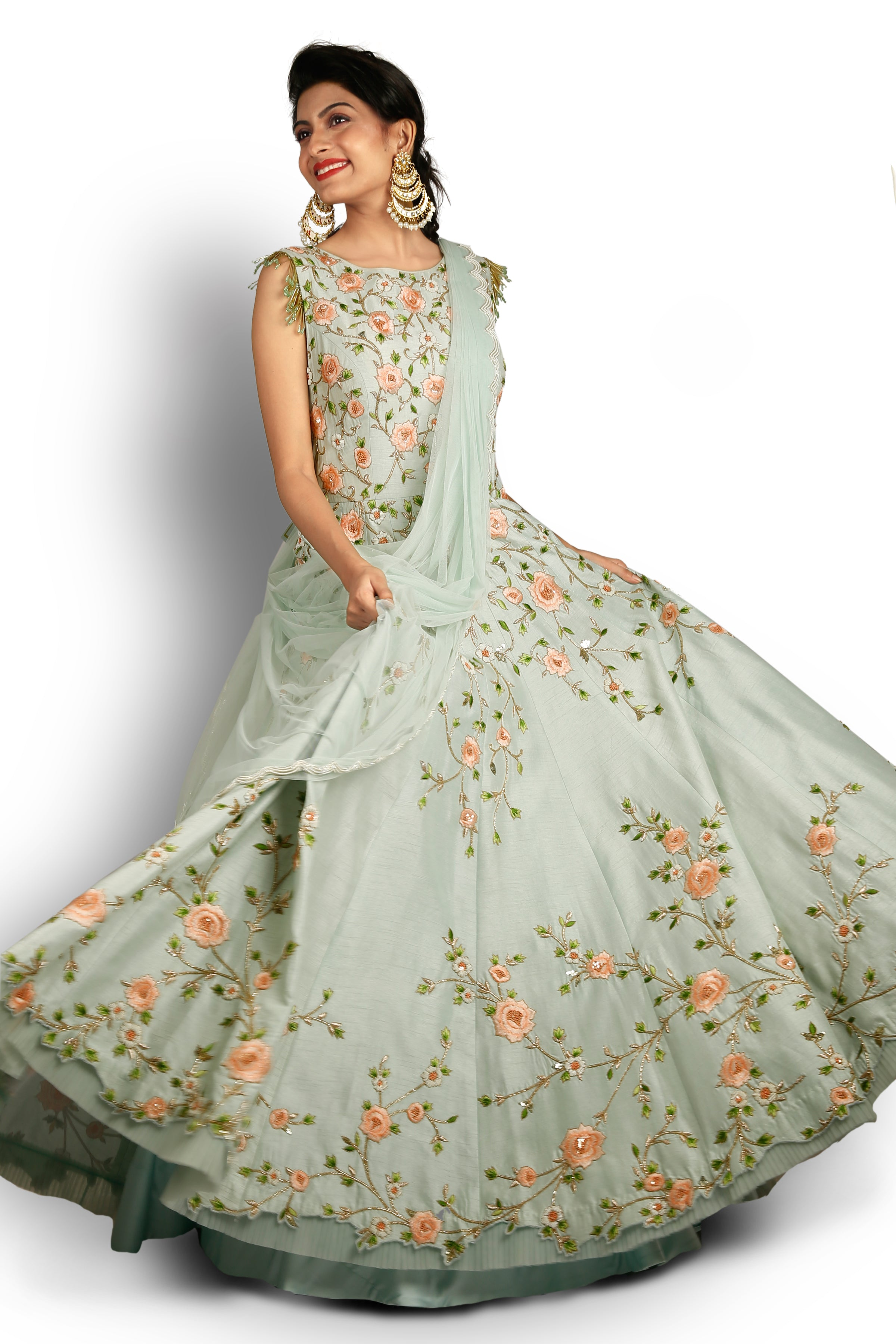 Sea Blue Floral Gown