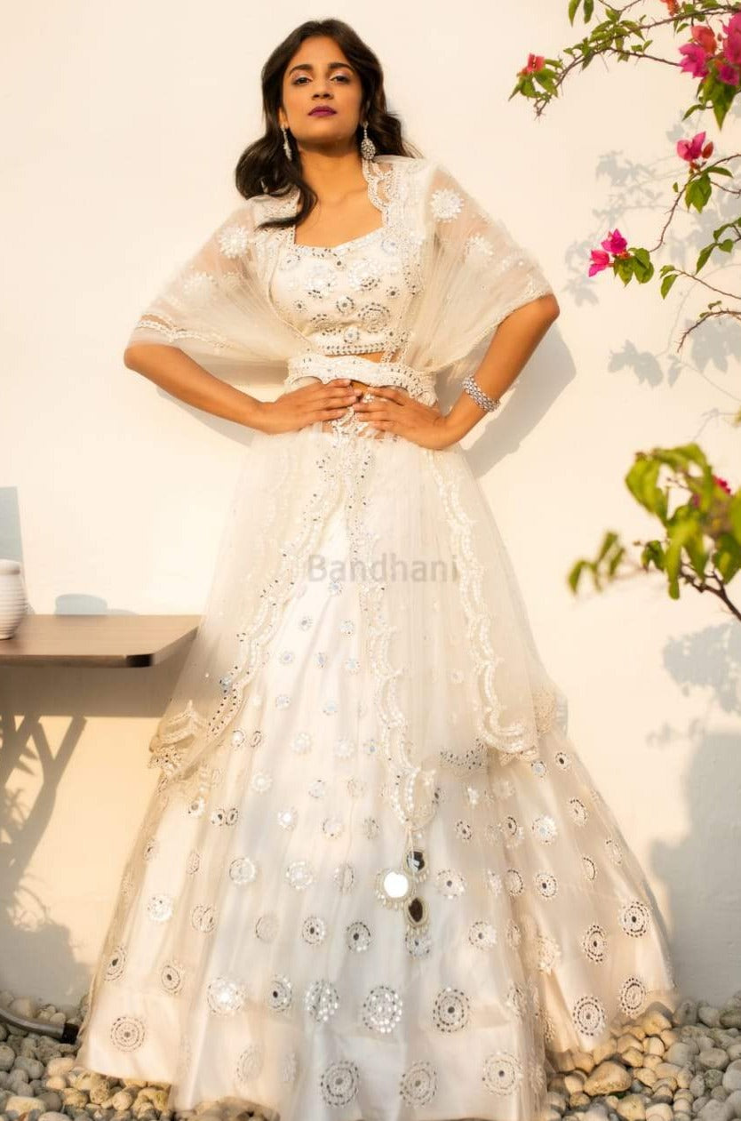 IVORY MIRROR WORK LEHENGA SET WITH A WAIST CLINCHER BELT
