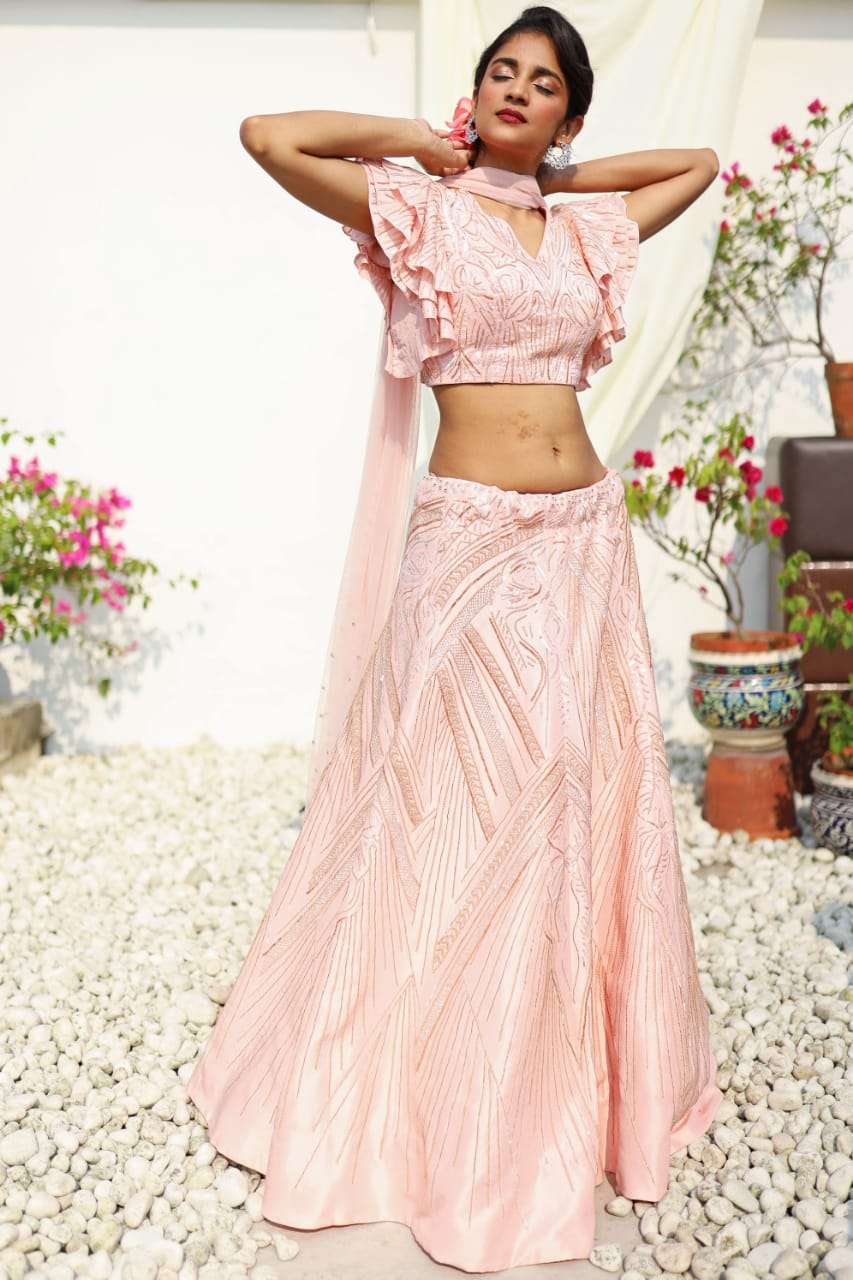 VINTAGE BLUSH PINK PIPE WORK LEHENGA