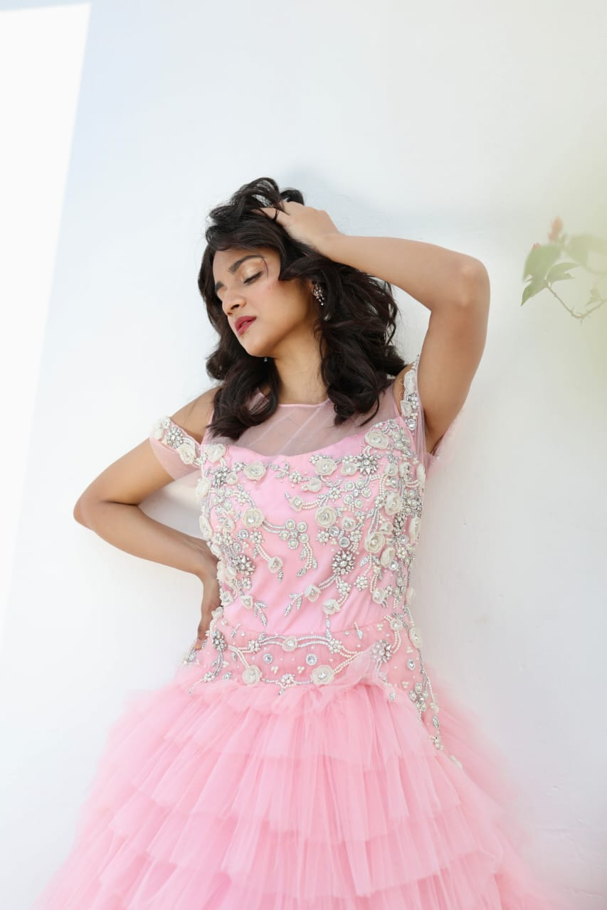 NEON PINK OFF SHOULDER RUFFLED GOWN EMBELLISHED WITH PEARL WORK