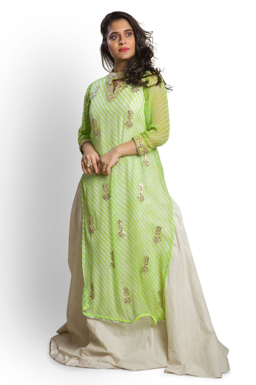 Green Kurta paired with Organza Skirt