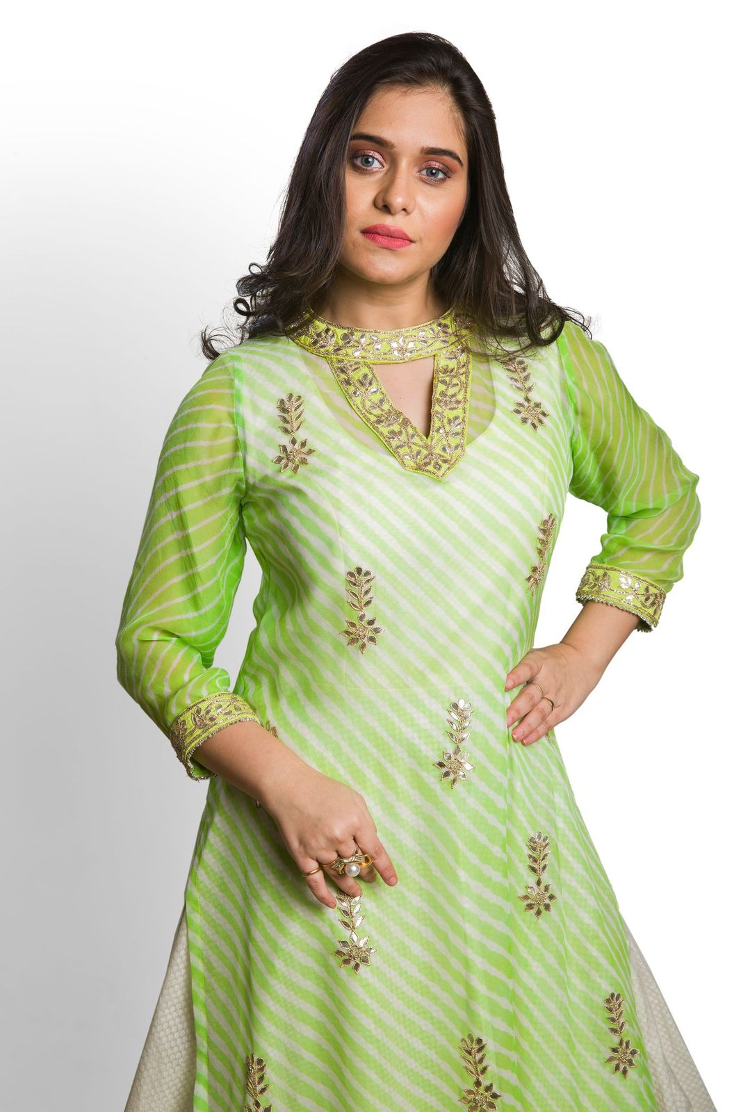 Green Leheriya Kurta with Organza Skirt