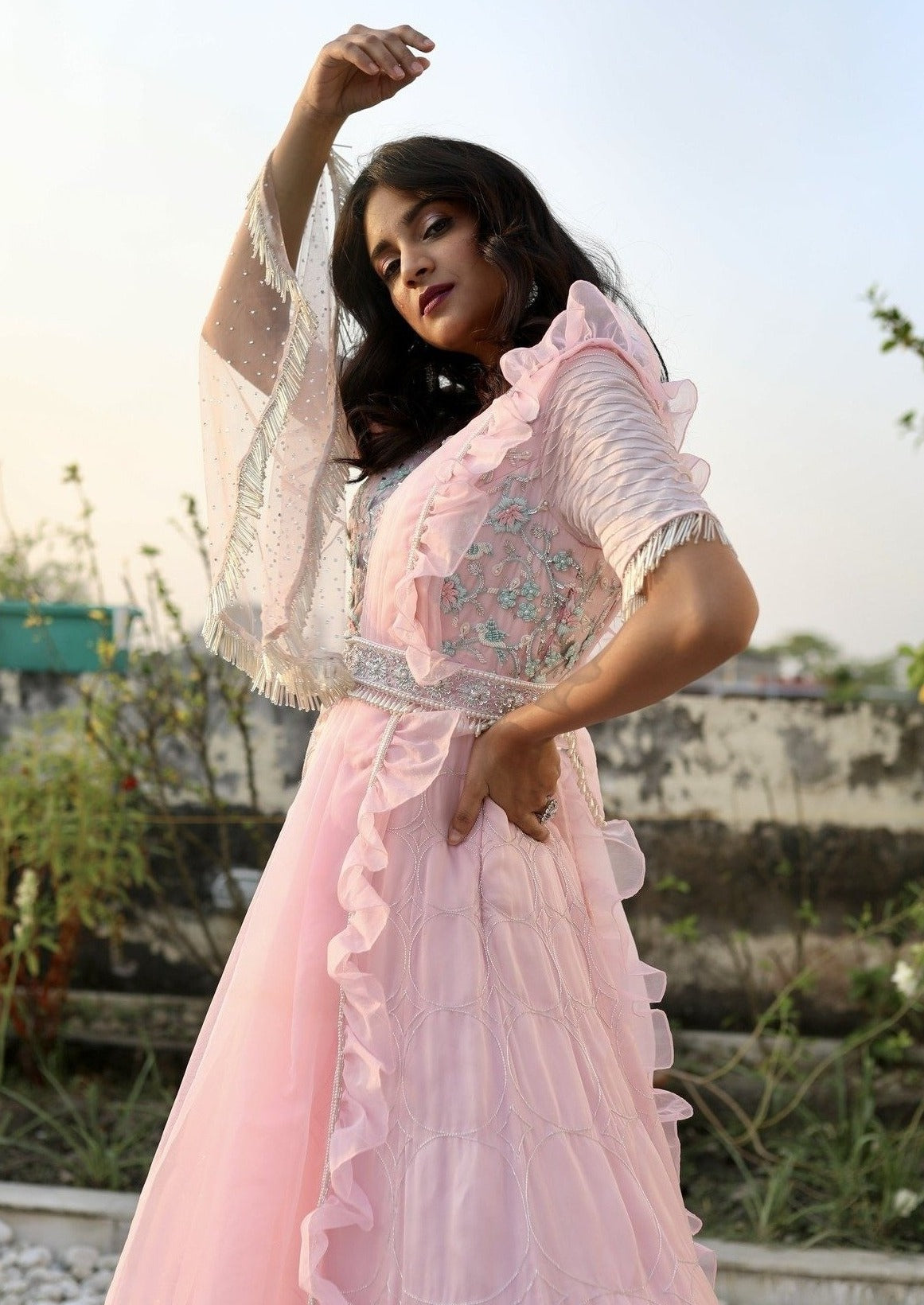 CARNATION PINK DRAPE GOWN WITH ATTACHED RUFFLED DUPATTA