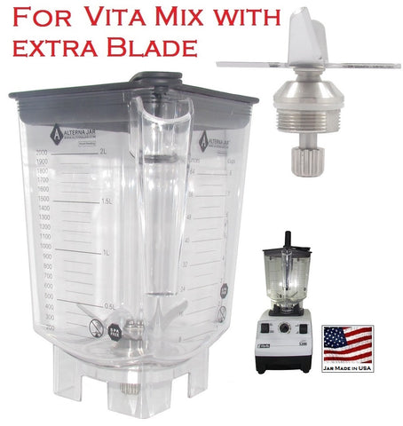 Alterna Jar fits Vitamix Blenders with EXTRA blending assembly; 80oz capacity