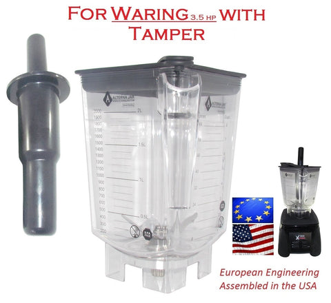 Alterna Jar fits Waring 3.5 hp Blenders - 80 oz with removable blade assembly + Tamper