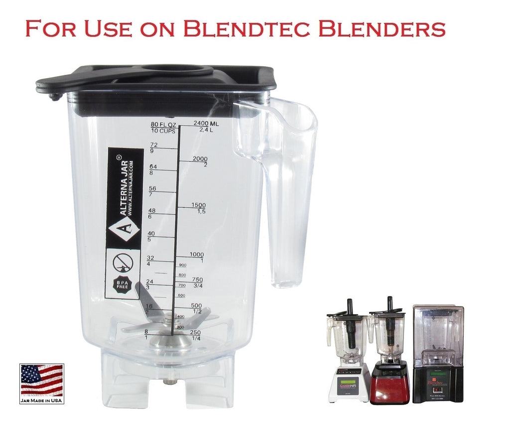 Alterna Jar fits Blendtec Blenders - 80 oz with removable blade assembly