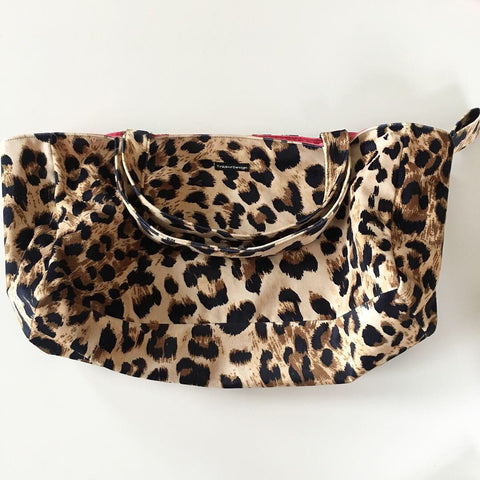 Lille shopper i leopard velour - TrikkerDesign