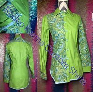 Lime and Paisley 1/2 and 1/2