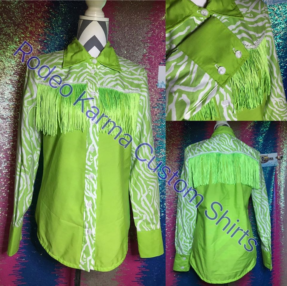 Lime Zebra with fringe