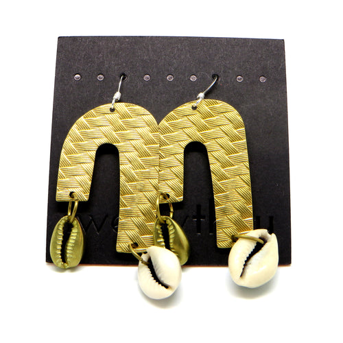 Brass Weave Waterfall Earrings (Cowrie)