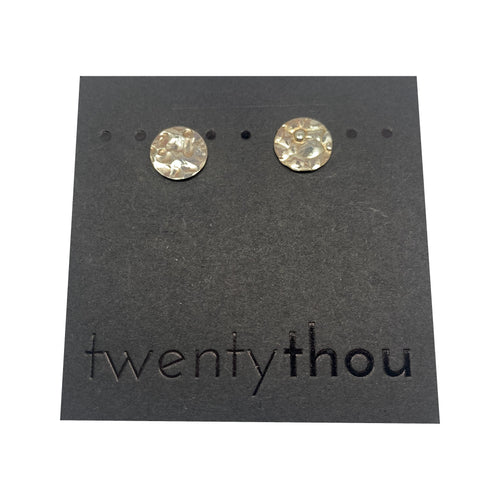 Pebbled Sterling Silver Full Moon Disc Studs
