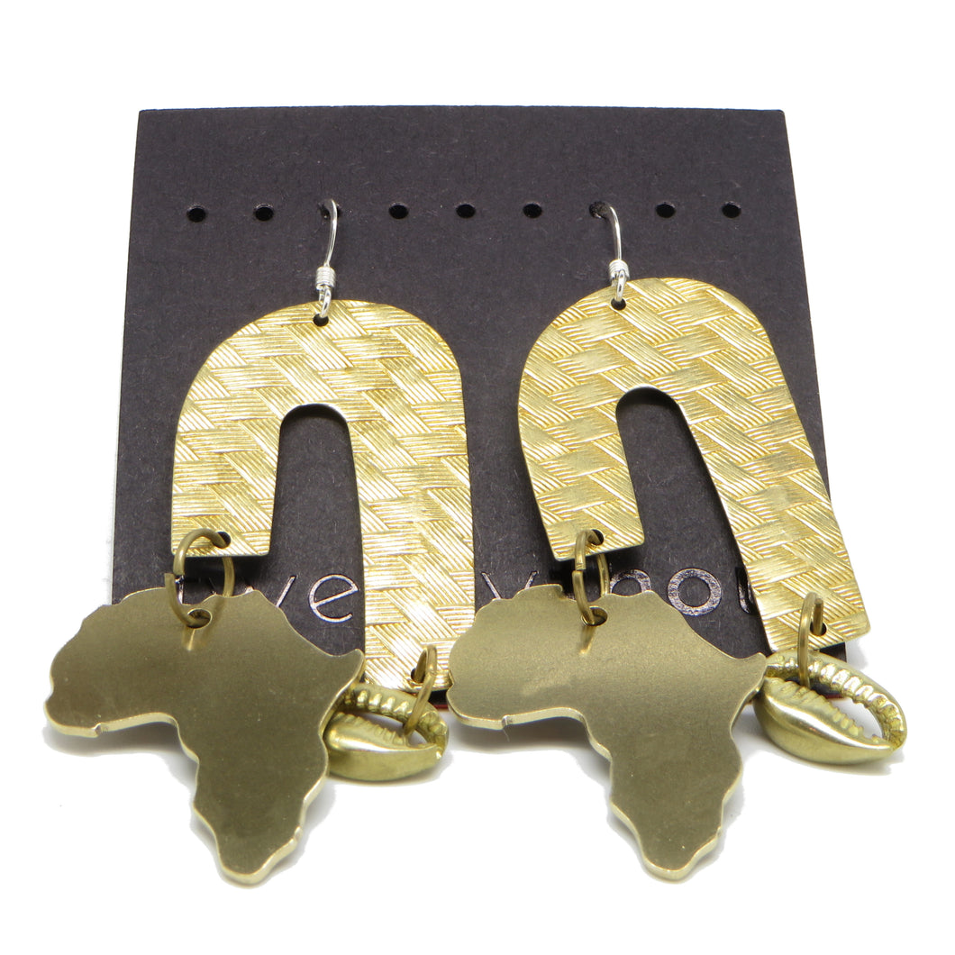 Brass Weave Waterfall Earrings (Africa & Cowrie)
