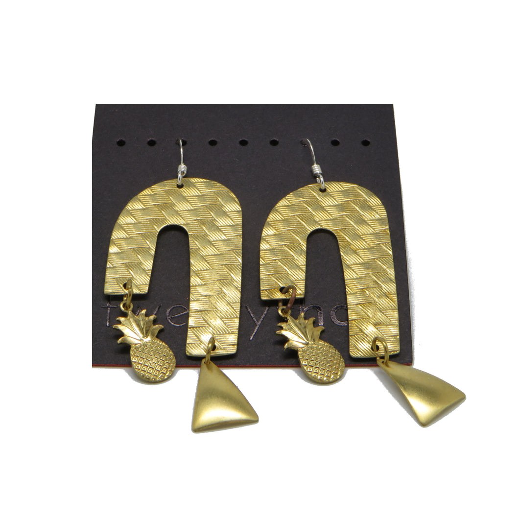 Brass Weave Waterfall Earrings (Pineapple D-Lite)