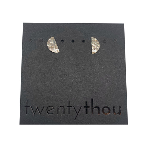 Pebbled Sterling Silver Half Moon Disc Studs