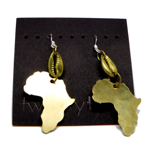 Pride & Joy Brass Cowrie Africa Earrings