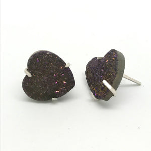 Purple Druzy Heart Stud Earrings