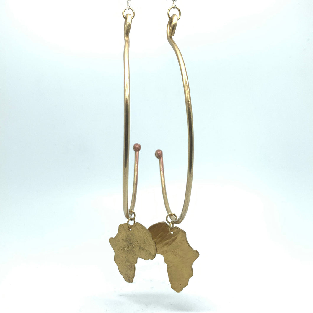 Copper & Brass Arc Hoop Earrings