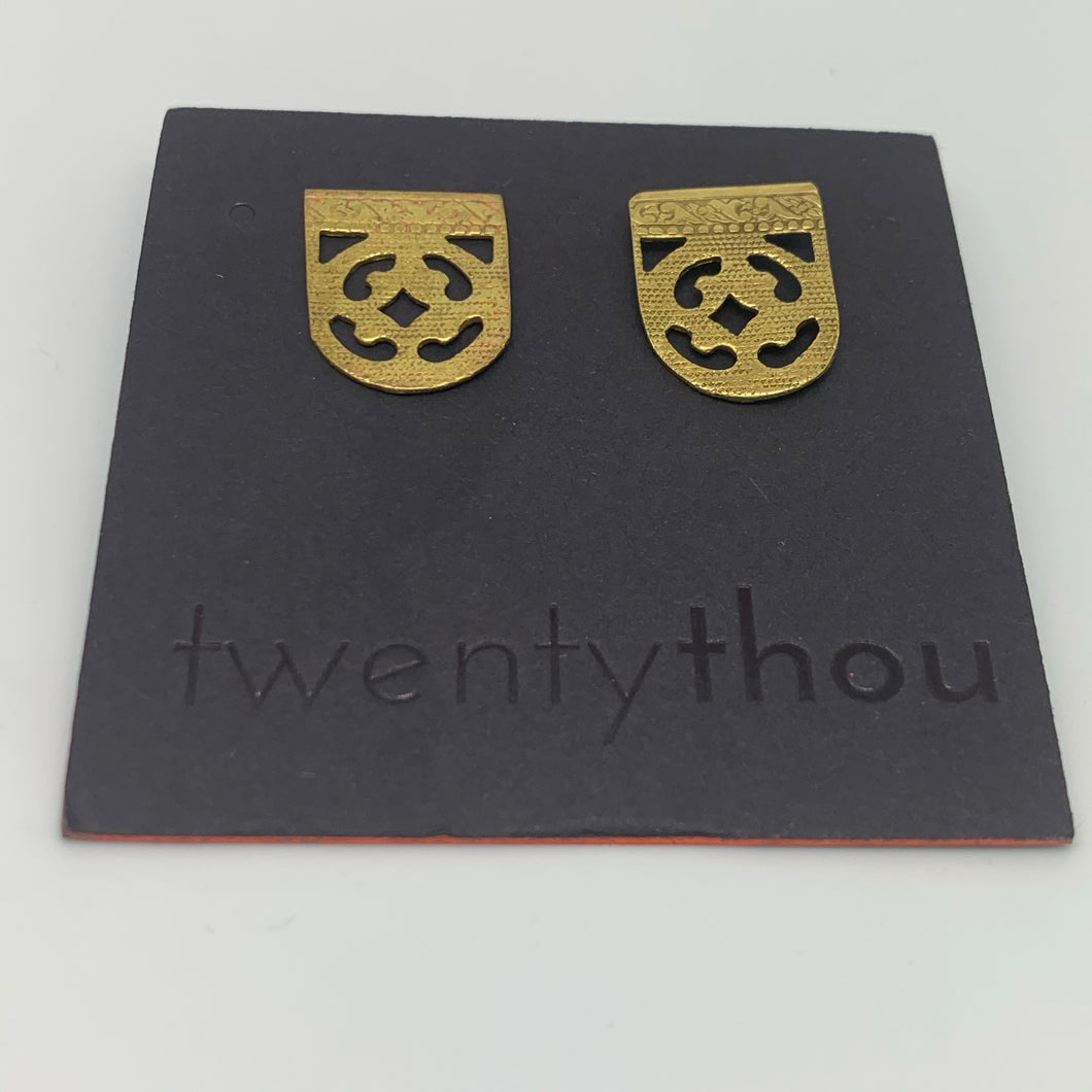 Brass mini shield earrings
