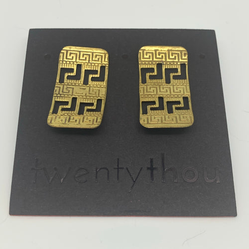 Greek key shield stud earrings
