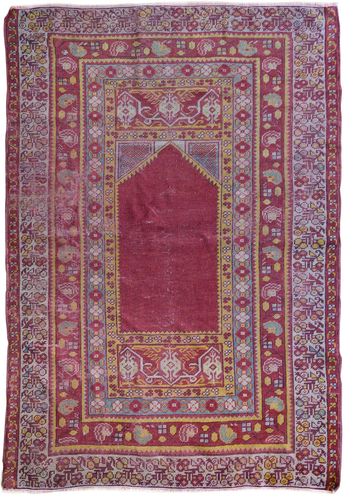 "3'6"" X 5'0"" Antique Anatolian Pray Rug (1010)"