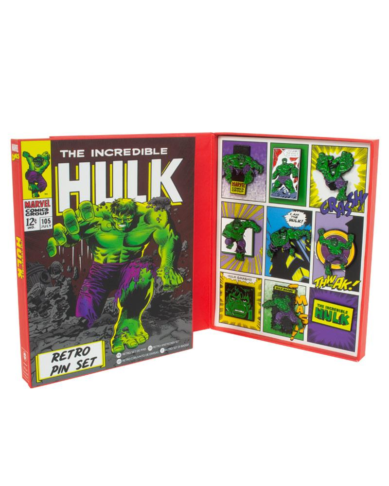 Official Marvel Hulk Retro Pin Badge Set