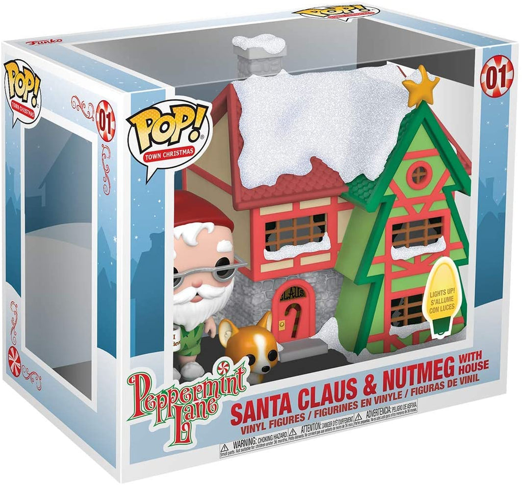 Funko Christmas - Peppermint Lane - Santa Claus and Nutmeg with Light up House #01