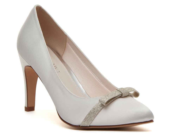 CAPRICE - Ivory Satin & Shimmer Bow Court Shoe