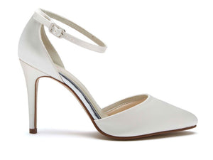 CARLY - Ivory Satin Ankle Strap Court Shoe