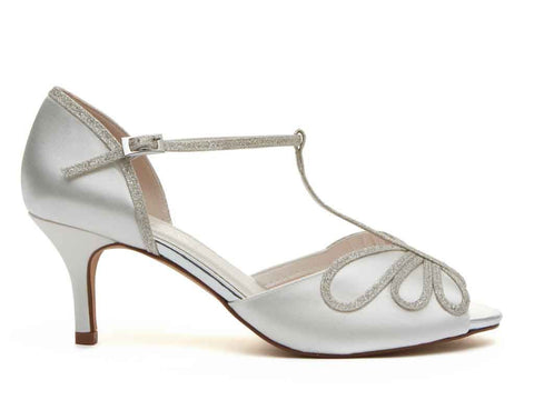HARLOW - Peep Toe Satin & Silver Fine Shimmer Shoes