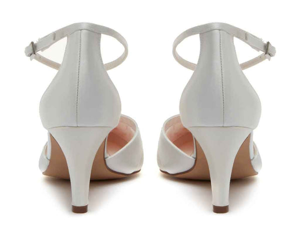 HARPER. - Ivory Satin Ankle Strap Shoes