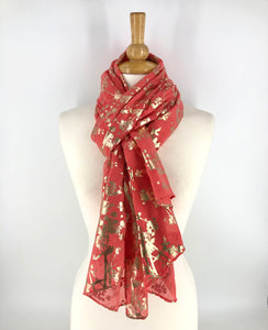 Ladies Long Coral/Gold Floral Print Scarf