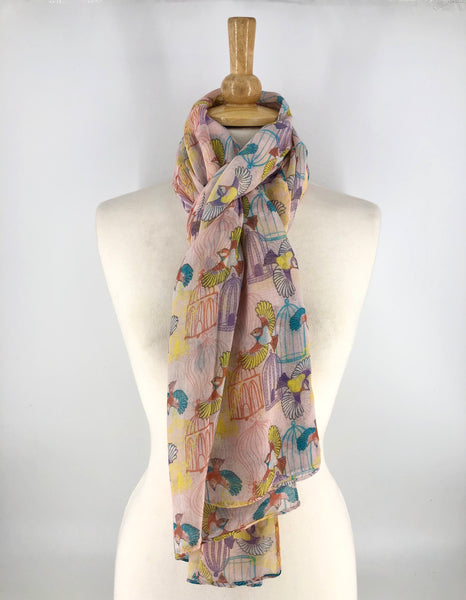 Ladies Long Birdcage Print Scarf