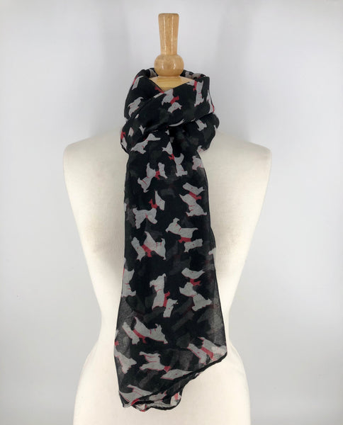 Ladies Long Black Scottie Dog Print Scarf