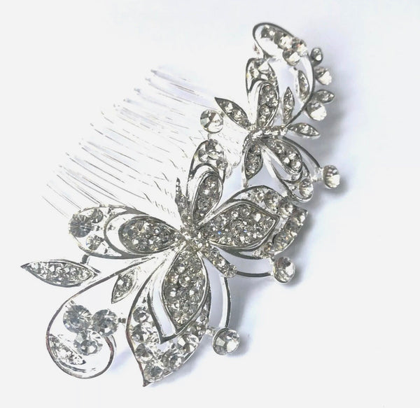 Silver Diamanté Large Butterfly Bridal Comb