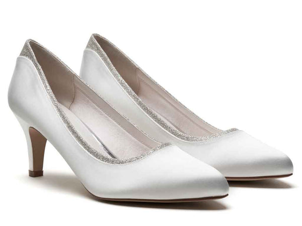 JARA - Ivory Satin & Silver Fine Shimmer Wide Fitting Court Shoes