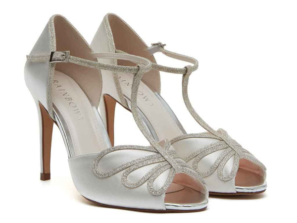 LUCIANA - Ivory Satin & Silver Fine Shimmer T-Bar Court Shoes