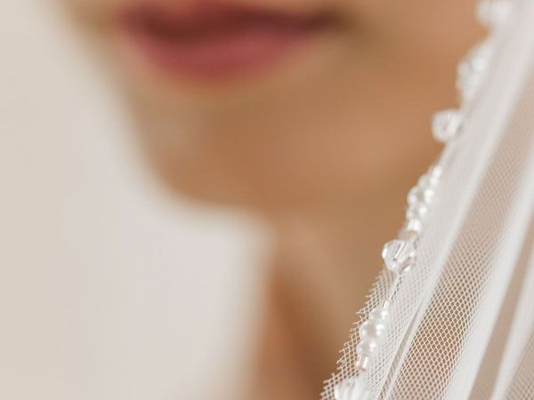 PEONY- Crystal and Pearl Edge Long Veil