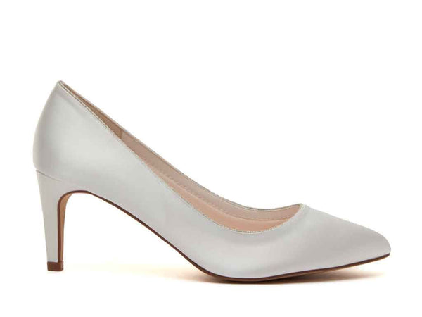 STELLA- Ivory Satin & Silver Fine Shimmer Court Shoes