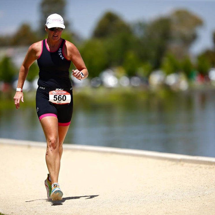 IRONMAN Mel completing Challenge Shepparton in 2015