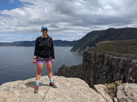 FOHER Co Ambassador Philadelphia Holmes running the Three Capes Track in Tasmania in her Super Run Hipsters