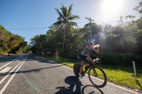 FOHER Co Professional Female Triathlete Penny Slater on the bike at IRONMAN Cairns