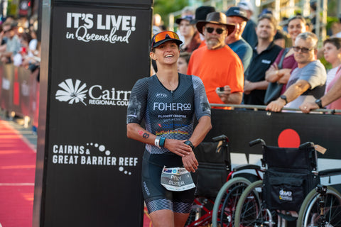 FOHER Co Professional Female Triathlete Penny Slater at the IRONMAN Cairns finish