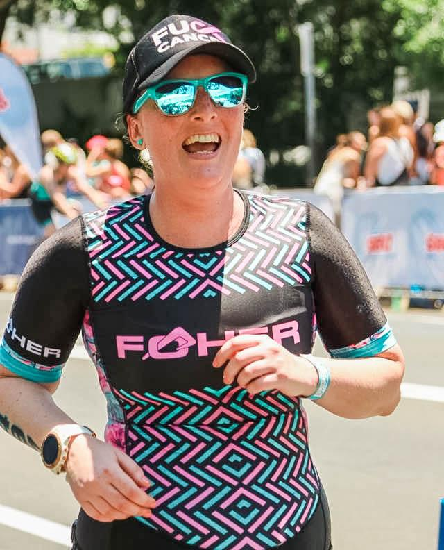 Smiling as always nearing the end of the Noosa Tri run