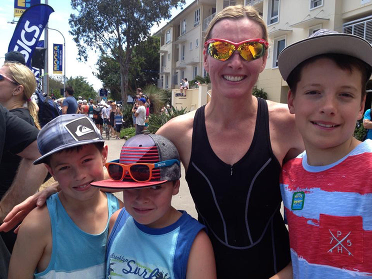 IRONMAN Mel at her first Noosa Triathlon with her boys